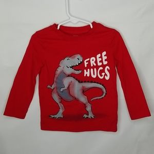 Carter's Red Dinosaur Long Sleeve Tee Size 2T
